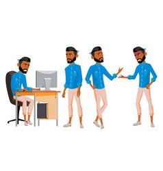 Arab man office worker set arab muslim vector
