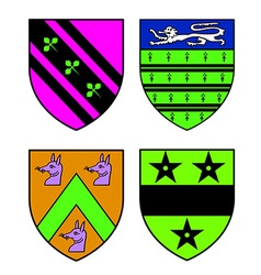 Authentic medieval heraldry shields recolored vector image