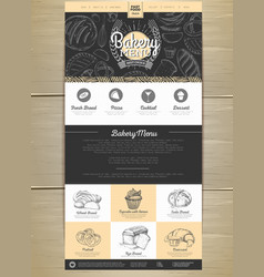 Bakery menu concept web site design corporate vector