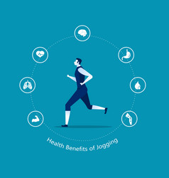 Benefits running or jogging infographic idea o vector