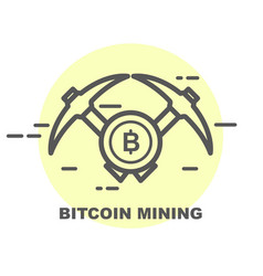 bitcoin mining icon - two crossed picks and coin vector image