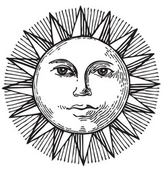 Black and white hand drawn sun with face vector
