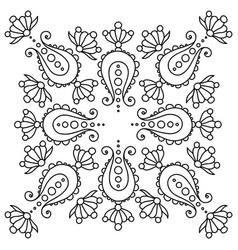 Black and white handdrawn mandala with paisley vector