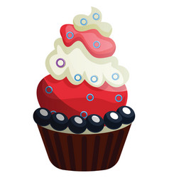 blueberry and chocolate cupcake on white vector image