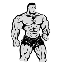 Bodybuilder on isolated background vector