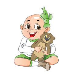 Boy with a teddy bear vector
