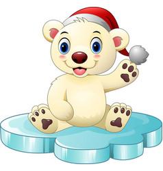 cartoon baby polar bear waving hand vector image