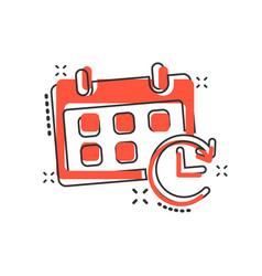 Cartoon calendar icon in comic style reminder vector