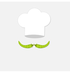 Chef hat and green pea mustache icon Menu card vector