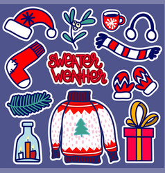 christmas knitted wear stickers vector image