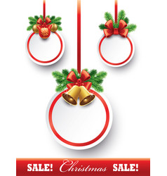 christmas sale tags with decorations vector image