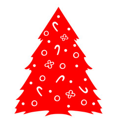 christmas tree red silhouette image fir vector image
