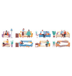 collection ill or sick and recovered people vector image