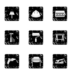 Construction icons set grunge style vector