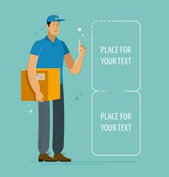 courier holds box with parcel delivery vector image