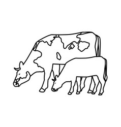 Cow and calf black and white vector