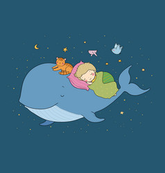 Cute cartoon boy and whale good night time to vector