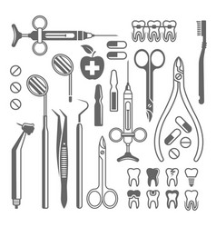 dental tools equipment set black icons vector image