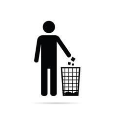 Dispose trash icon with man vector