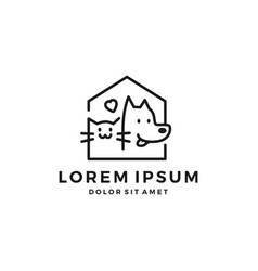 Dog cat pet house home love logo icon line art vector