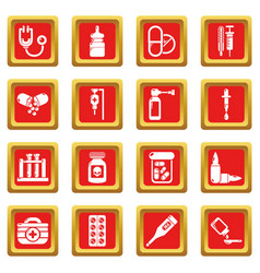 Drug medicine icons set red square vector