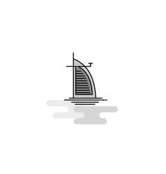 dubai hotel web icon flat line filled gray icon vector image