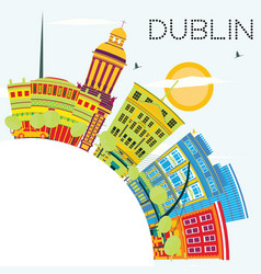 Dublin skyline with color buildings blue sky and vector