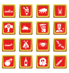 Fears phobias icons set red square vector