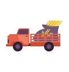 Flat farmer truck pickup delivering harvest food vector
