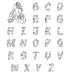 Flowers Alphabet Letters vector image