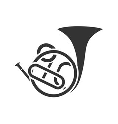french horn glyph icon vector image