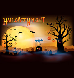 full moon creepy cemetery halloween night concepts vector image
