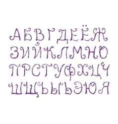 Funny cyrillic alphabet in sketch style vector