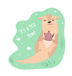 Funny poster with adorable otter with teapot vector