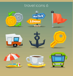 funny travel icons-set 6 vector image