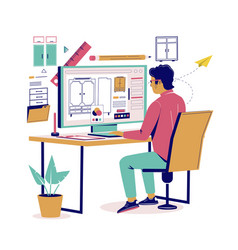 furniture designer creating furnishings vector image