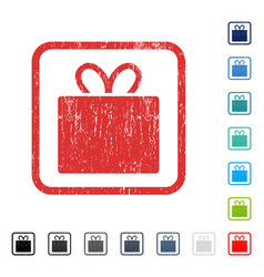 Gift icon rubber watermark vector