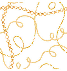 golden chains seamless pattern fashion background vector image