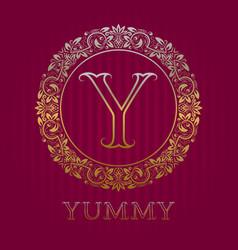 golden logo template for yummy boutique monogram vector image