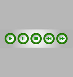 green white round music control buttons set vector image