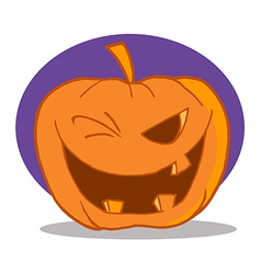 Halloween pumpkin character winking vector