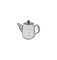 hand drawn teapot logo vector image