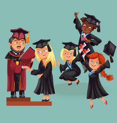 happy boys and girls on graduation party vector image