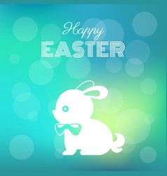 happy easter headline with silhouette bunny vector image
