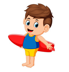happy surfer man is holding surfboard vector image