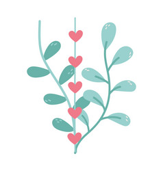 happy valentines day branches leaves hearts love vector image