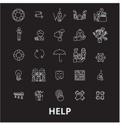 help editable line icons set on black vector image
