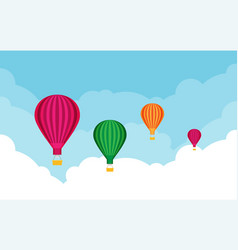 hot air balloons tourism and vacation theme flat vector image