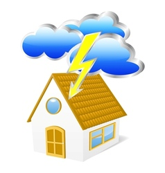 House with clouds and lightning vector image