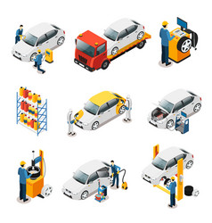Isometric car repair services set vector